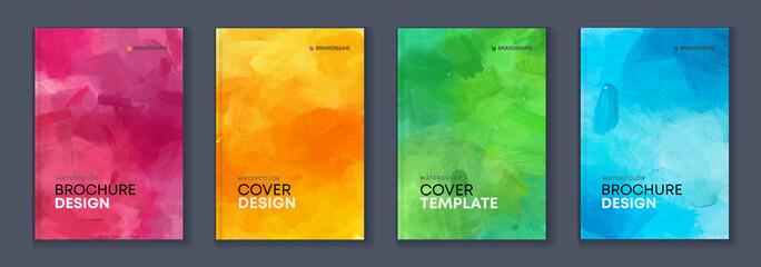 Obraz Watercolor A4 booklet colourful cover bundle set - fototapety do salonu