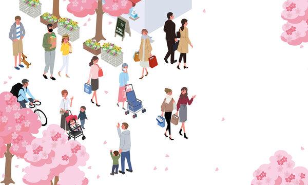 アイソメトリック 人々 春の街並み バナー