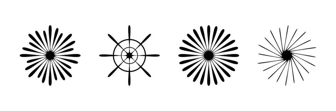 Black firework symbol illustration set