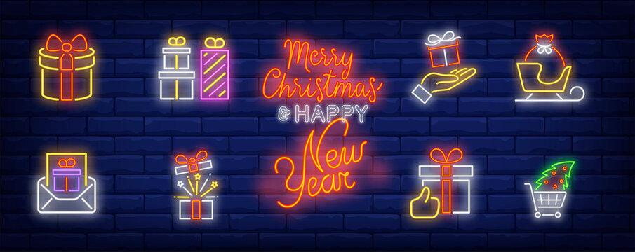 Christmas gifts neon sign set