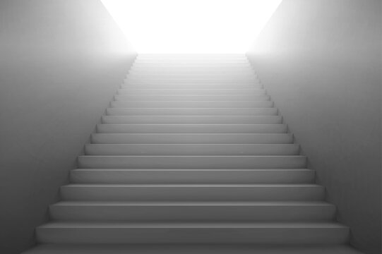 3d stairs going to light, white staircase with blank side walls. Way to business success, career ladder, architecture construction for building interior or exterior. Realistic vector illustration