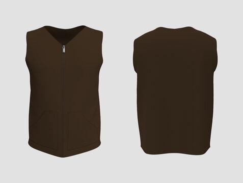 Vest jacket mockup front and back views, 3d illustration, 3d rendering