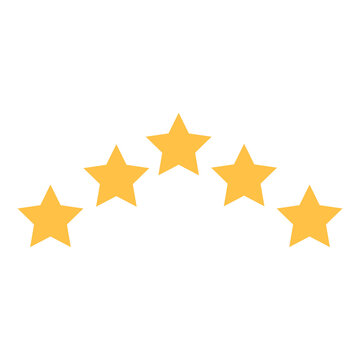 Thumb 5 stars icon - rating of stars symbol isolated on white background