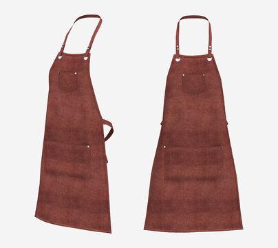 Blank  aprons, apron mockup, clean apron, design presentation for print, 3d illustration, 3d rendering