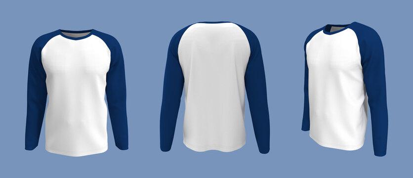 men's long-sleeve raglan t-shirt mockup in front, side and back views, design presentation for print, 3d illustration, 3d rendering