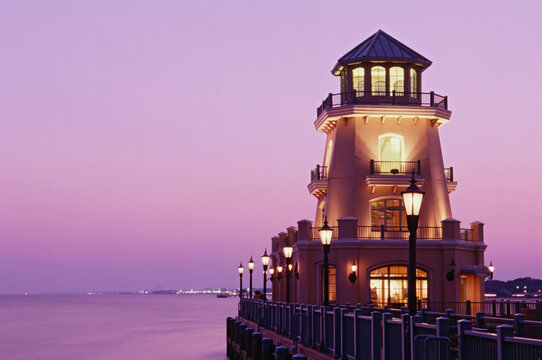 Lighthouse and pier in the sea, Beau Rivage, Biloxi, Harrison County, Mississippi, USA