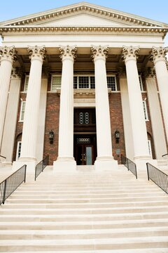 Steps leading up to entrance of Dallas Hall, Southern Methodist University, University Park, Dallas County, Texas, USA
