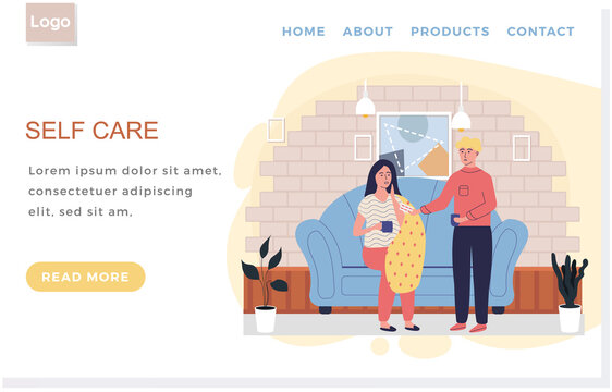 Internet website layout. Self care concept. Man giving pills to sick woman. Girl takes antiviral. Female character wrapped in blanket is ill at home. Male character treating relative with medication