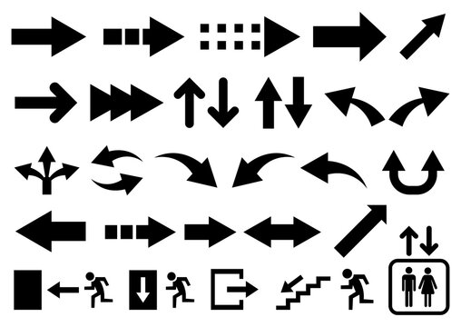 Vector set of black arrow shapes isolated on white.