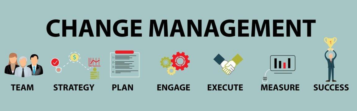 Change Management Vector Illustration Concept on light blue background