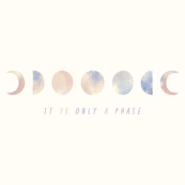 Illustration Moon phase in pastel color It is only a phase