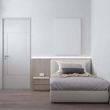 Canvas frame on the white room interior,minimal bedroom interior mock up, empty white wall, 3d rendering