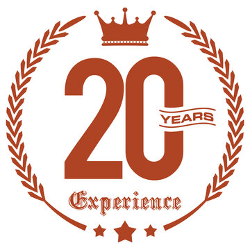 20 Years Experience. Vector Flat Icon.