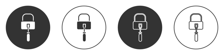 Black Lockpicks or lock picks for lock picking icon isolated on white background. Circle button. Vector Illustration.