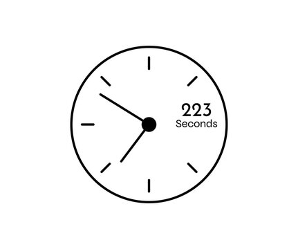 223 seconds Countdown modern Timer icon. Stopwatch and time measurement image isolated on white background
