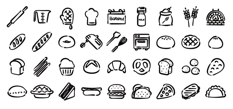 Bread and Bakery Icon Set (Hand draw version)
