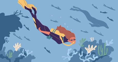 Young woman in diving mask and wetsuit swimming underwater and observing coral reef. Scuba diver watching marine fauna at seabed. People exploring submarine world. Colored flat vector illustration