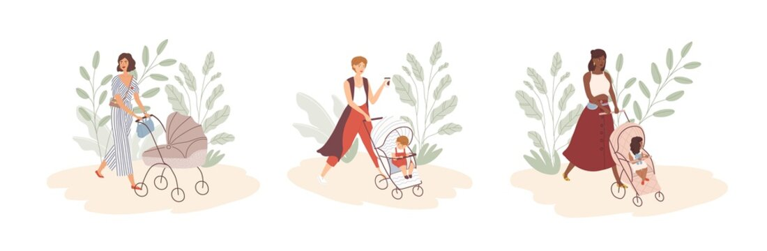Set of modern young moms walking with newborns in prams and strollers. Stylish women strolling with babies. Motherhood and maternity. Flat colorful vector illustration isolated on white background