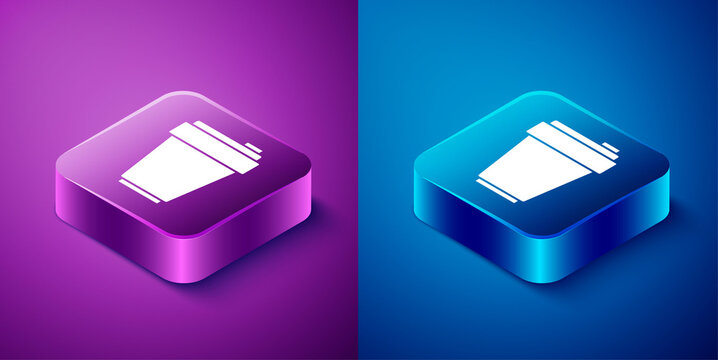 Isometric Fitness shaker icon isolated on blue and purple background. Sports shaker bottle with lid for water and protein cocktails. Square button. Vector.