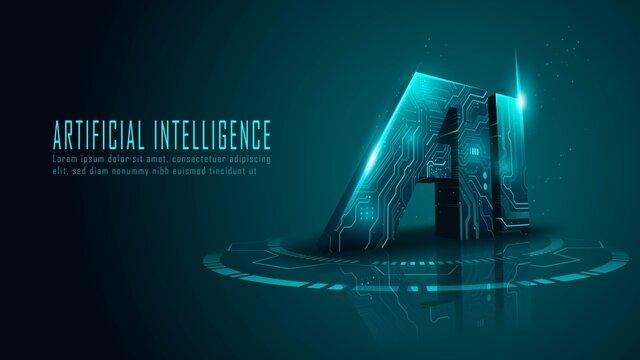 3D ai circuit in futuristic concept suitable for future technology artwork , Responsive web banner