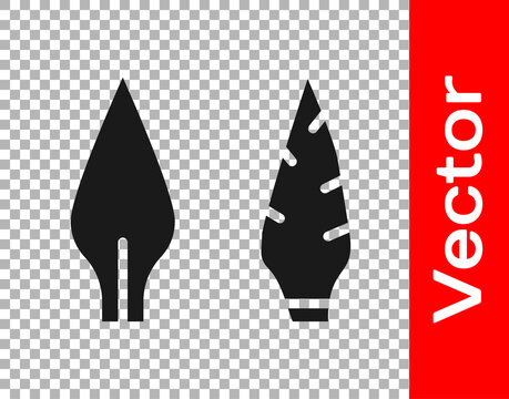 Black Stone age arrow head icon isolated on transparent background. Medieval weapon. Vector.