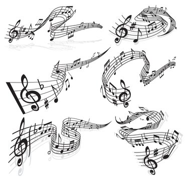 Music waves, vector musical notes and treble clef on curvy stave. Melody sounds symbols, musical notes wave swirls for jazz club or classical opera concert and orchestra players performance icons set