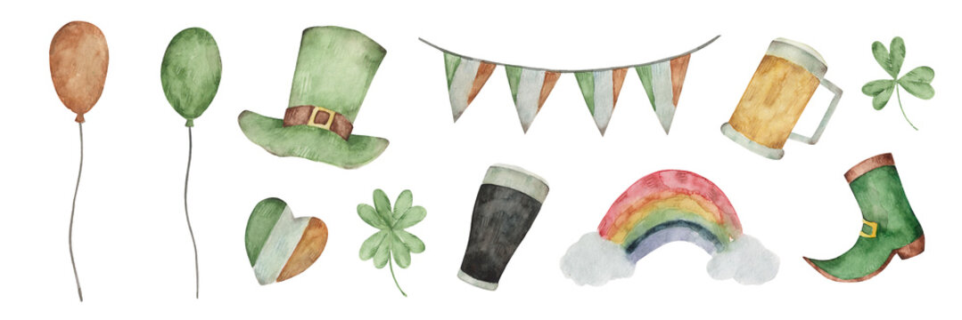 Large watercolor set for st patrick's day. Balloons, garland, leprechaun hat, pint of beer, clover, rainbow, shoe. Irish holiday.