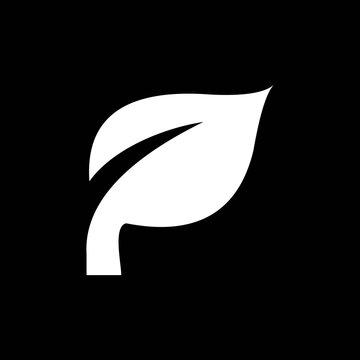 initial letter P leaf silhouette logo design