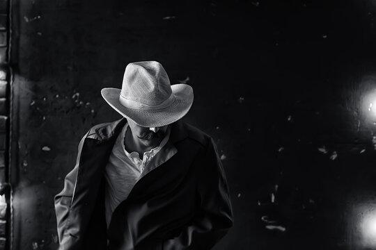 stylized vintage portrait of a man wild west, mustachioed dangerous criminal, mustache on his face