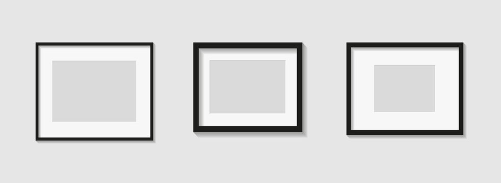 Set of black photo or picture frames with white mat and shades isolated on gray background. Vector illustration. Wall decor. Rectangle horizontal photo frames