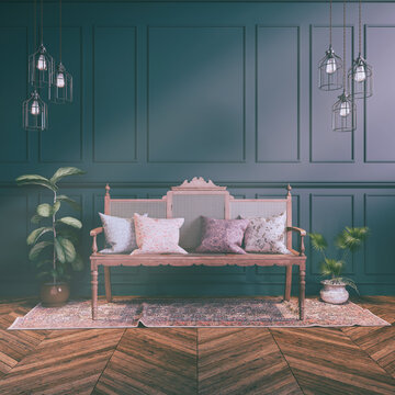 3d render of a Victorian living room - classic style - retro look