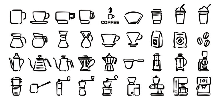 Barista and Coffee Lovers Icon Set (Hand draw version)