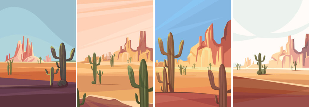 Collection of arizona deserts. Natural landscapes in vertical orientation.