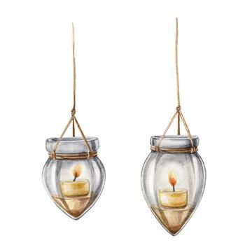 Boho style glass lanterns with candles illustration. Old fashion watercolor hand painted home decor. Retro style cozy home elegant candle decoration. Boho vintage lamp element set on white background.