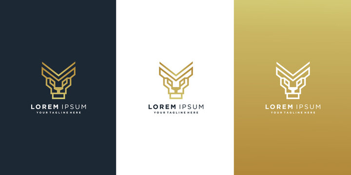 set of lion line logo design template