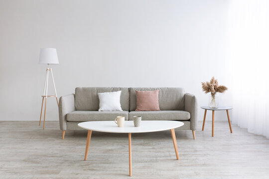 Room with wooden floor and daylight. Gray sofa with white and pink pillows