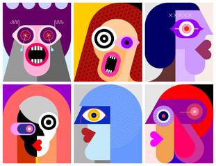 Six People Portraits modern art vector illustration. Six flat design different faces.