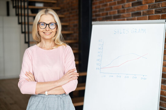 A portrait of confident smiling middle-aged woman wearing glasses and casual wear, in modern office with arms crossed, a flip chart with sales graphs on the background. Businesswoman posing indoor