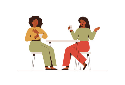 Happy female friends rest in the cafe and talk about something. Two black women spending time together at coffee break. Flat vector illustration isolated on white background