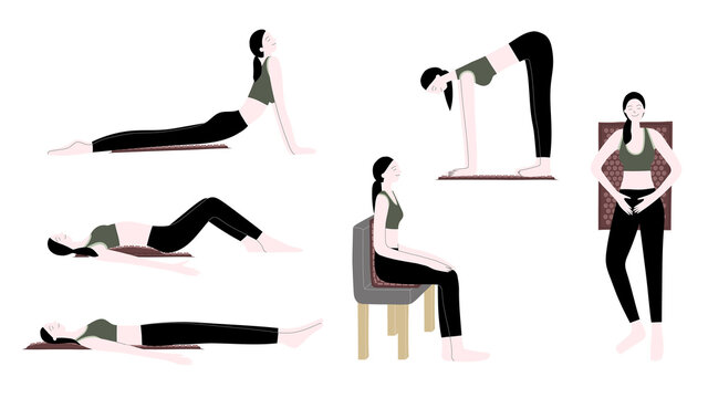 Vector flat hand drawn illustration set with women use an applicator massage mat for home self-massage, exercise, stretching and muscle relaxation. Acupressure, acupuncture, healthy body