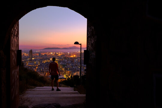 Sunset in alicante city, beautiful views from the santa barbara castle towards the neighborhoods