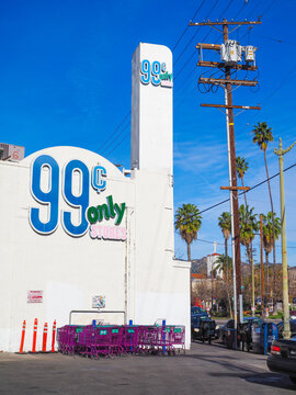 Los Angeles, USA - 27 Jan 2019: Budget grocery store 99 Cents only photographed from the street in Los Angeles