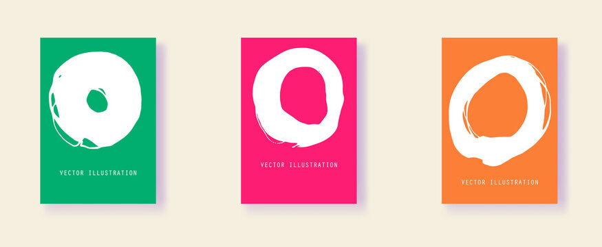 Set of creative minimalist hand painted illustrations for wall decoration, postcard, brochure cover design.