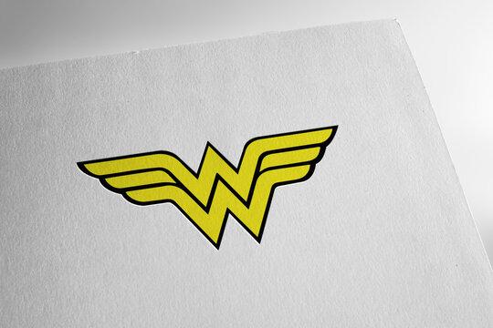 Wonder woman logo on textured paper