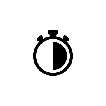 Black stopwatch with 30 minutes, half hour. flat icon isolated on white.