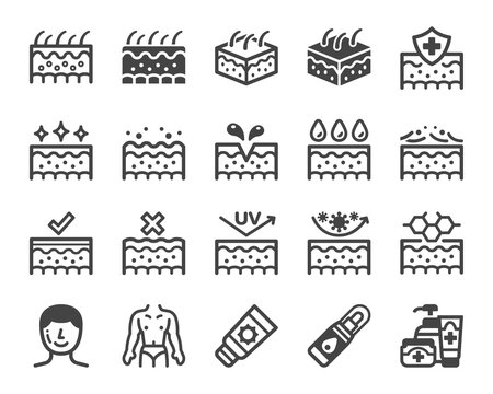 skin icon set,vector and illustration