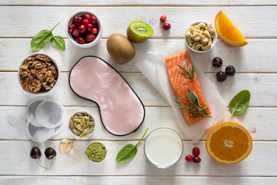 Selection of food for better sleep insomnia rich in tryptophan and melatonin, copy space