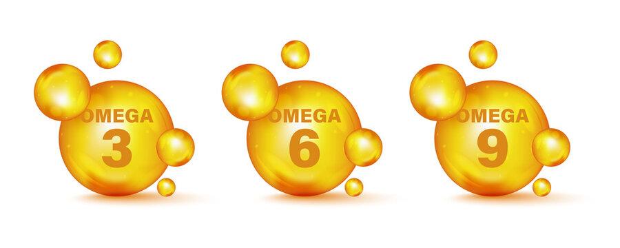 Set of gold drops icons Omega Three, Six And Nine. Polyunsaturated fatty Omega-3, Omega-6, Omega-9. Natural Fish, Organic Vitamin, Nutrient. Omega Fatty Acid, EPA, DHA. Vitamin drop pill capsule