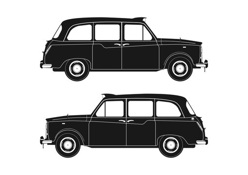 London taxi silhouette. Side view of vintage taxi from the 1960s. Flat vector.