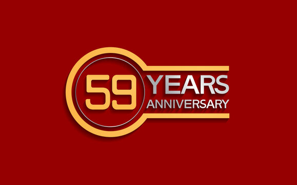 59 years anniversary golden and silver color with circle isolated on red background can be use for special moment, celebration, invitation and greeting card